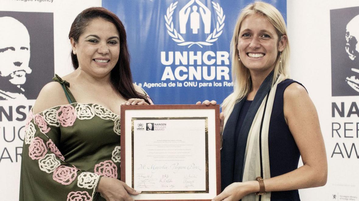 Mayerlin Vergara, recibe de parte de ACNUR el premio Nansen.